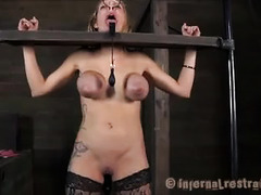 Rain Degrey screams from under her hood as she's abused by Master