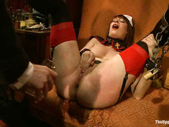Slaves are tested and fucked at this raunchy Halloween party
