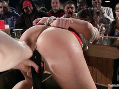Mia Gold is publicly humiliated and fucked by cruel dudes and her Domme