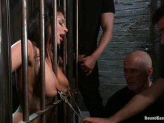 Large-breasted hottie Anissa Kate gets locked up and fucked hard