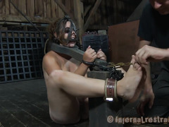 A helpless chick is caned, whipped and made to suck on a thick boner