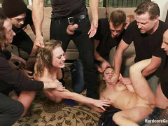 Andrea Acosta and Vicky Vixen are taken by a group of rough guys