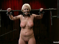 Bleach-blonde tramp Cherry Torn is dominated by two Masters