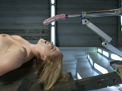 Krissy Lynn lets her hairy cunt be pounded by fucking machines