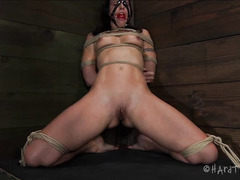 A slut glistening with sweat has her ass spanked and paddled