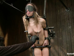 Pleasurable torture is on the agenda for bound cutie Kristina Rose