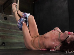 A hogtied honey feels the burn when her soft, sensitive ass is whipped