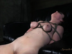 A dark-haired slut is fucked until her shaved pussy is sore and leaking