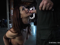 A pretty brunette wiggles and writhes as her Master uses her body