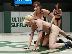 Bella Rossi and Alice Frost grapple it out on the wrestling match