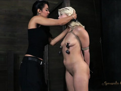 A gorgeous blonde is passed between two demanding Masters