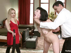 Two pretty slaves are given lessons by a tempting Mistress
