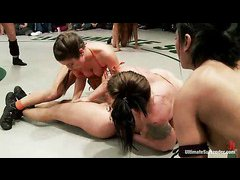 Competive ladies are ruthless during a nude wrestling match