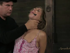 A dark-haired cutie handcuffs herself before sucking cock and riding