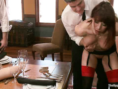 These sexy, experienced slaves show the new girl the ropes