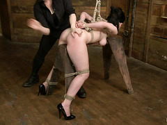 Hogtied cutie Belle Noir has her holes and tits abused by Claire