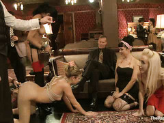 Slave girl Chastity Lynn is initiated during a red-hot group sex session