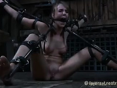 A variety of metal restraints keep this slut's body open to punishment