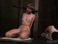 This blonde's bondage and punishment is meant to break her down