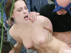 French slut Nikita Bellucci gets used by multiple guys at the laundromat