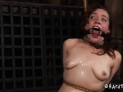 A pretty chick sucks cock while her pale ass is whipped and striped