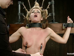 Gorgeous blonde slut Sheena Shaw is bound upright and shown off