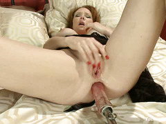 Ginger princess Audrey Hollander offers up her ass and pussy for dildos