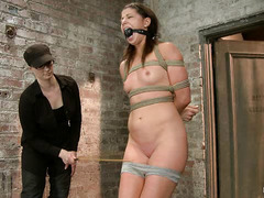 Mia Gold gets her pretty, pert booty spanked while tied up and suspended