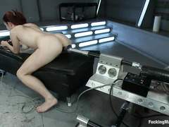 Sexy redhead Melody Jordan makes use of all these fucking machines