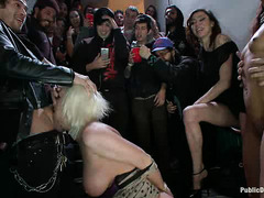 Skin Diamond and Cherry Torn are roughed up and fucked in a stairwell