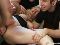 Curvy blonde Adison Asher gets taken by multiple hot, hung guys