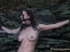 A naughty brunette endures water torment and a dildo on a stick