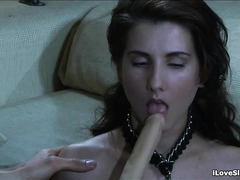 A skinny slave happily takes everything her Master gives her
