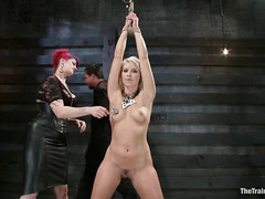 Bleach-blonde tramp Anikka Albrite in bondage and hot wax