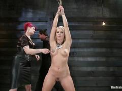 Bleach-blonde tramp Anikka Albrite in bondage and hot wax