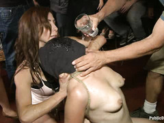 Disgraced slut Alice Frost is used by everyone at the bar