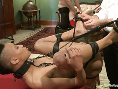 Slave babes Juliette March and Nikki Darling get banged on the pool table