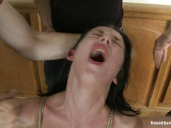 Russian hottie Judit finds herself sealed tight by thick cocks