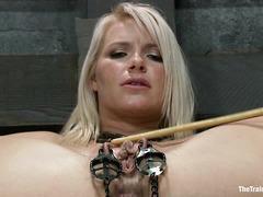 Anikka Albrite endures another day of intense lezdom slave training