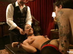 These pretty slaves try their best to satisfy the handsome Derrick Pierce