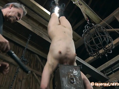 A babe with a metal hood can't see the punishment coming her way