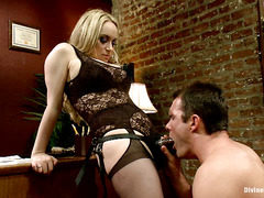 Aiden Starr and Maitresse Madeline take advantage of three helpless guys