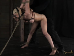 A petite blonde's body is used harshly by her strict and dominating Master