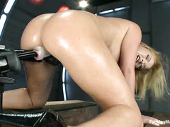 Krissy Lynn talks dirty while getting fucked by thick, thrusting dildos
