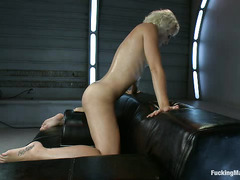 Blonde hottie Dylan Ryan gets wet and sticky when fucked by fat dildos