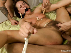 Savannah Secret's super-hairy pussy gets nailed by two tough guys