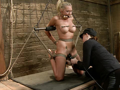 Katie Summers has her glorious, big-boobed body tied and tormented