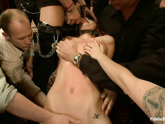 Fresh meat Kenzie Vaughn is taken to an epic gangbang for hardcore action