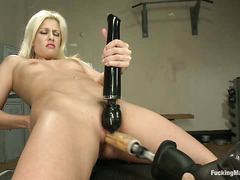 French beauty Jessie Volt screams and cries during a fuck machine session