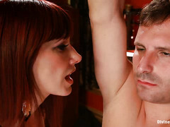 Maitresse Madeline unleashes her brutality on her caged-up slave boy